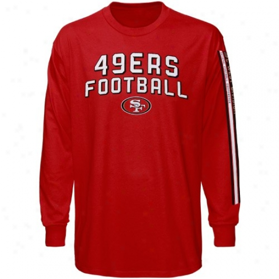 49er Attire: Reebok 49er Youth Cardinal Stacks Long Sleeve T-shirt