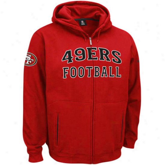 49er Fleece : Reebok 49er Scarlet Overtime Full Zip Fleece