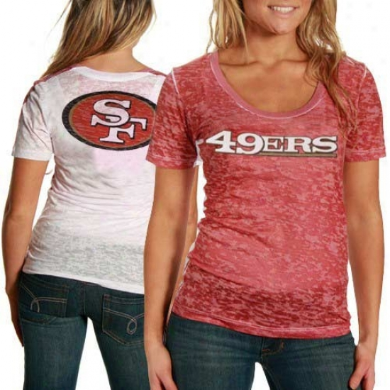 49er T-shirt : Touch By Alyssa Milano 49er Ladies Red-white Sublimated Sheer Burnout Prmium T-shirt