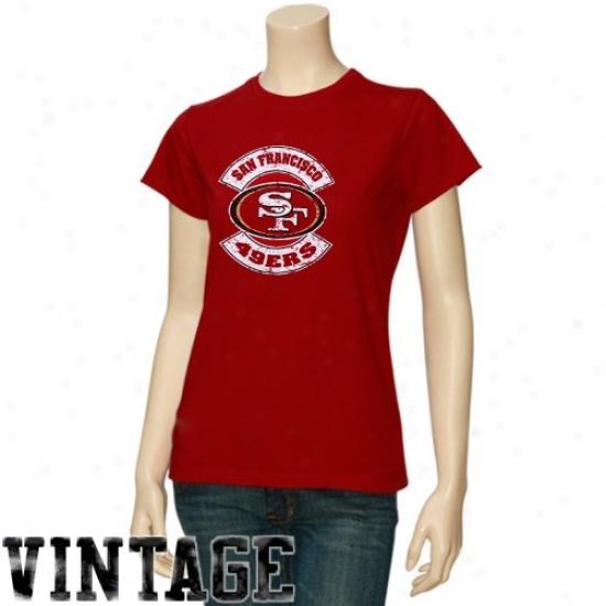 49er Tees : 49er Ladies Cardinal Basic Round Logo Vintage Tees