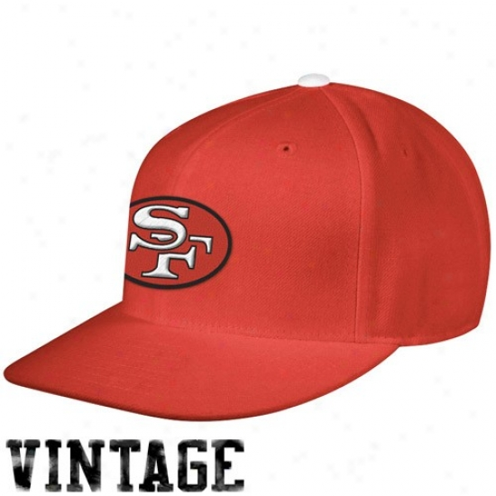 49ers Gear: Mitchell & Ness 49ers Scarlet Vintage Logo Fitted Hat