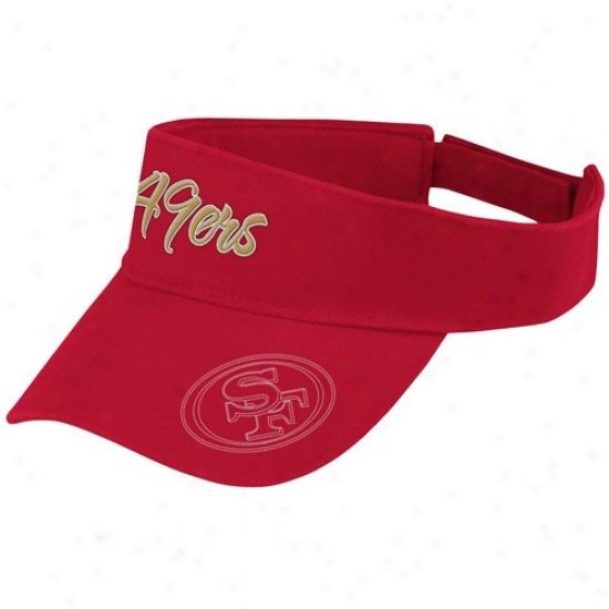 49ers Hat : Reebook 49ers Ladies Cardinal People of ~ Adjustable Visor