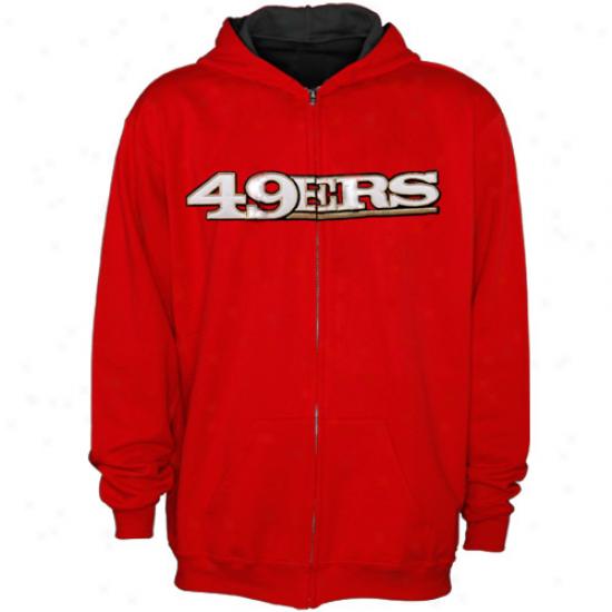 49ers Hoodys : Reebok 49ers Youth Scarlet Sportman Full Zip Hoodys