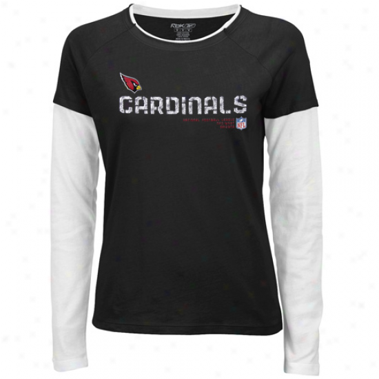 Arizona Cardinal T Shirt : Reebok Arizona Cardinal Ladies Black Sideline Tacon Long Sleeve Layerde Fabric T Shirt