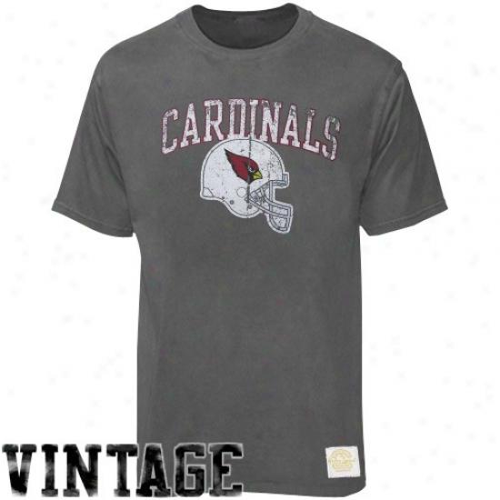 Arizona Cardinal T-shirt : Reebok Arizona Cardinal Charcoal Buttonhook Vintage Premium T-shirt