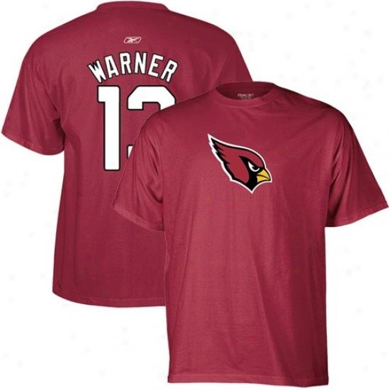 Arizona Cardinal T Shirt : Reebok Arizona Cardinal #13 Kurt Warner Red Player T Shirt