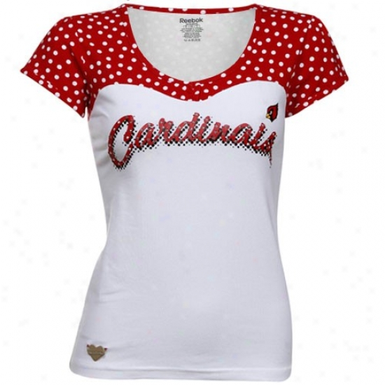 Arizona Cardinal Tshirts : Reebok Arizona Cardinal Ladies White-cardinal Red Sweetheart Scoop V-neck Premium  Tshirts