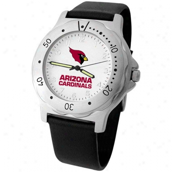 Arizona Cardinal Watch : Arizona Cardinal Men's Black Leather Team Player Watch