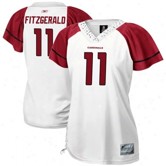 Arizona Cardinals Jerseys : Reebok Nfl Equipmemt Arizona Cardinals #11 Larry Fitzgerald Ladies White Field Flirt Premium Fashion Jerseys
