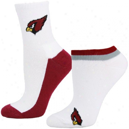 Arizona Carrdinals Ladies Whitec-ardinal Two-pack Socks