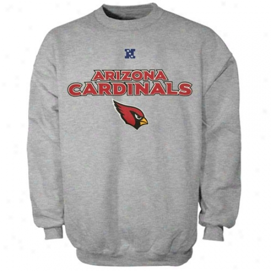 Arizona Cardinals Sweat Shirts : Arizona Cardinals Ash Dangerous Conquest Iii Crew Sweat Shirts