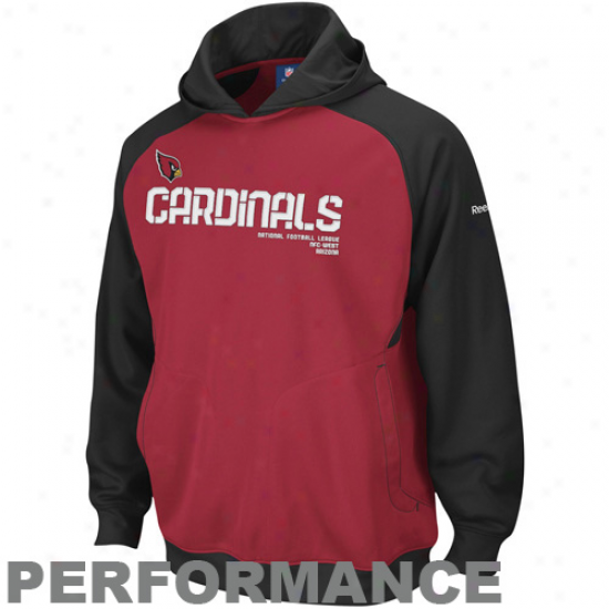Arizona Cardinals Sweatshirt : Reebok Arizona Cardinals Cardinal-black Sideline Performance Pullover Sweatshirt