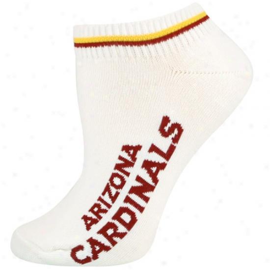 Arizona Cardinals White Ladies (529) 9-11 Ankle Socks