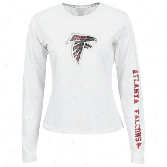 Atlanta Falcon Attire: Reebok Atlanta Falcon Ladies White Giant Logo Too Long Sleeve T-shirt