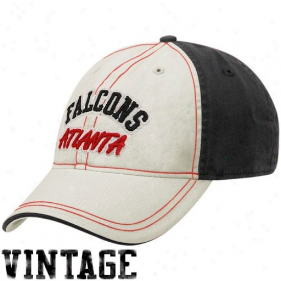 Atlanta Falcon Gear: Reebok Atlanta Falcon Natural-black Arched Lettering Adjustable Slouch Hat