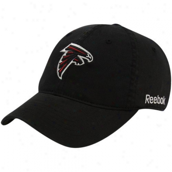 Atlanta Falcon Hqts : Reebok Atlanta Falcon Black Sieeline Slouch Flex Fit Hats