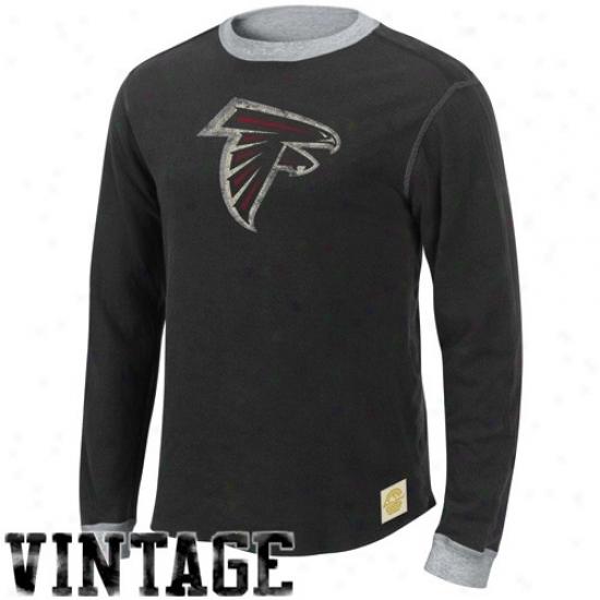 Atlanta Falcon Tee : Reebok Atlanta Falcon Black-ash Reversible Double Knit Long Sleeve Vintage Teee