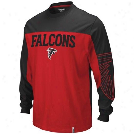 Atlanta Falcon Tshirt : Reebok Atlanta Falcon Red-black Arena Long Sleeve Tshirt