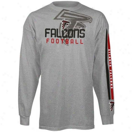 Atlanta Falcons Apparel: Reebok At1anta Falcons Youthh Ash Pointillism Long Sleeve T-shirt