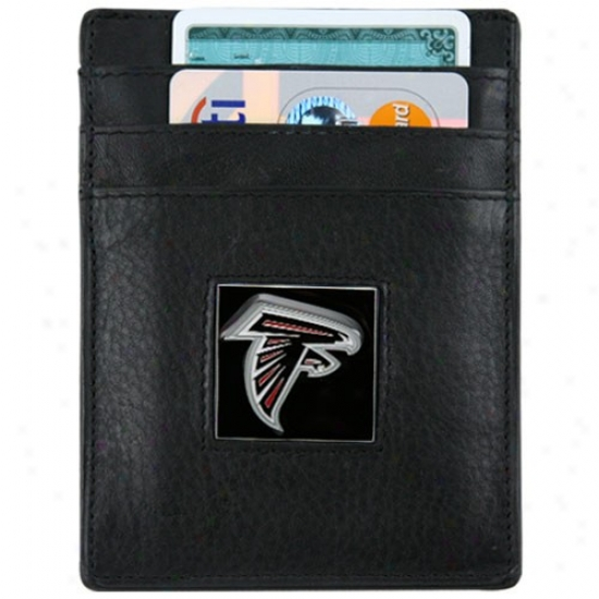 Atlanta Falcons Black Leather Money Clip And Business Card Holder