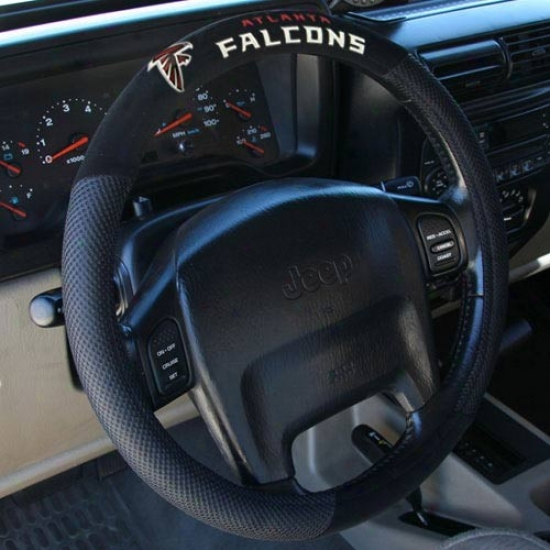 Atlanta Falcons Black Poly Suede & Mesh Steering Wheel Cover