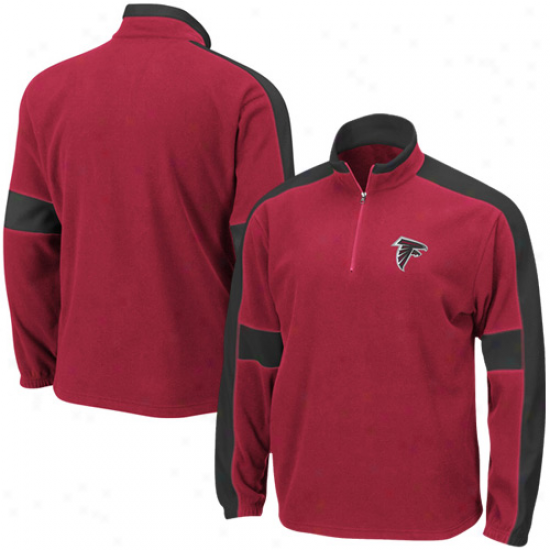 Atlanta Falcons Hoody : Atlanta Falcons Red Game Stopper 1/4 Zip Hoody Jacket