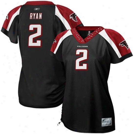 Atlanta Falcons Jersey : Reebok Atlanta Falcons #2 Matt Ryan Ladies Black Field Flurt Premium Fashion Jersey