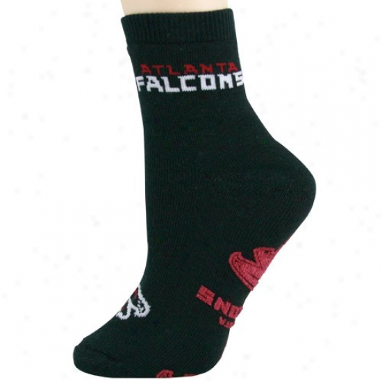 Atlanta Falcons Lsdies Black Slipper Socks
