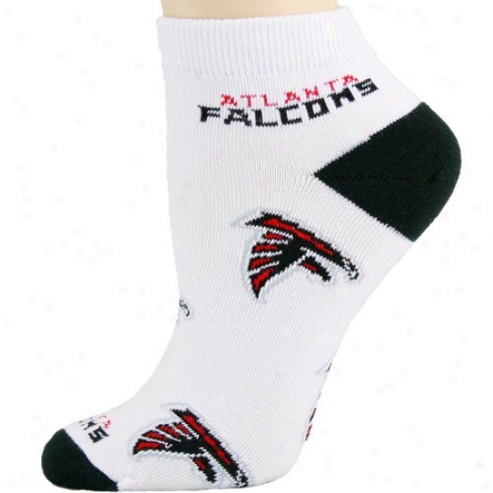Atlanta Falcons Ladies White Whole Over Team Logo Ankle Socks