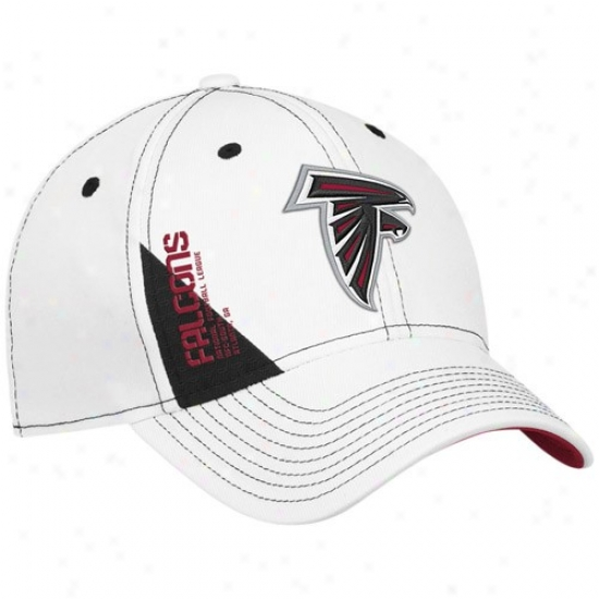 Atlanta Falcons Merchandise  Reebok Atlanta Falcons White Official 2010  Draft Day Flex Fit Hat 41f7cd354
