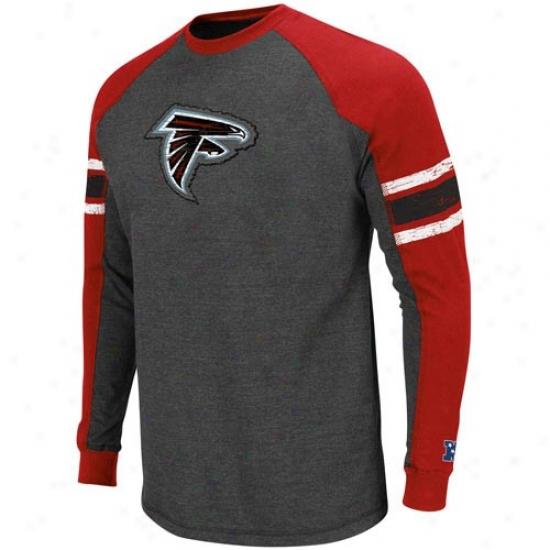 Atlanta Falcons T Shirt : tAlanta Falcons Charcoal-royal Blue Conquest Pride Ii Premium Long Sleeve Raglan T Shirt