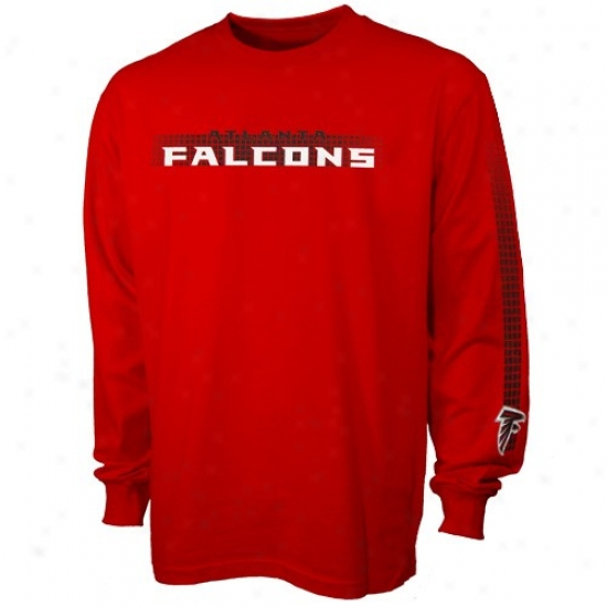 Atlanta Fallcons T Shirt : Atlanta Falcons Red Flea Flicker Long Sleeve T Shirt