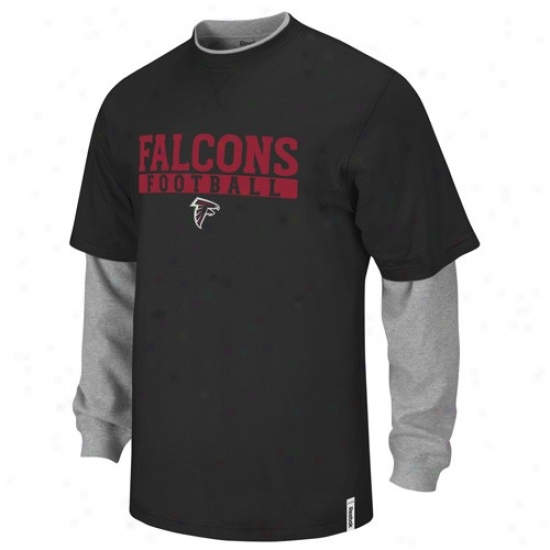 Atlants Falcons Tshirt : Reebok Atlanta Falcons Black-gray Splitter Double Layer Tshirt