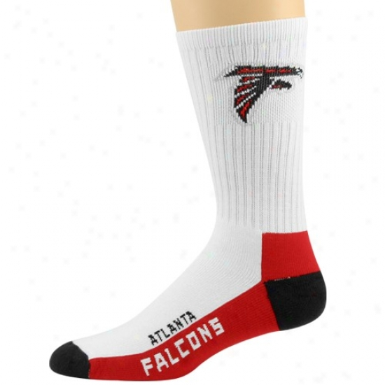 Atlanta Falcons White Team Logo Bottom Tall Socks
