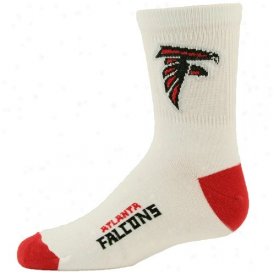 Atlanta Falcons Youth White-red Quarter Length Socks