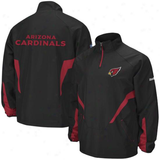 Az Cardinal Jackets : Reebok Az Cardinal Black Hot Sideline 1/4 Zip Pullover Wind Jackets