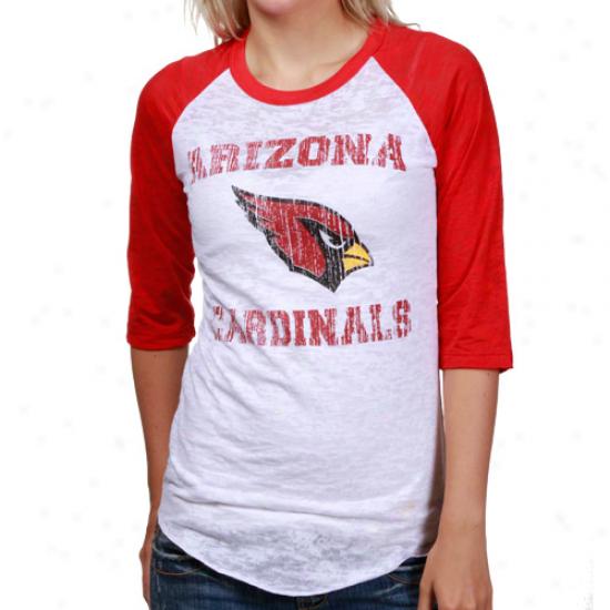 Az Cardinal T Shirt : Reebok Az Cardinal White-cardinal Huddle Up Raglan Burnout 1/2 Sleeve T Shirt