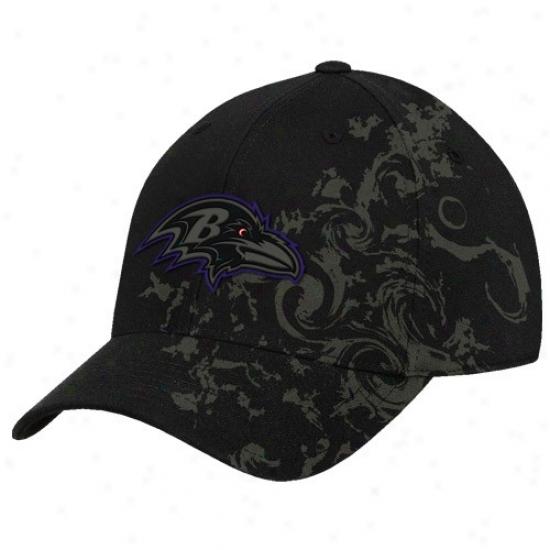 Baltimore Raven Gear: Reebok Baltimore Raven Black Tattoo Swirl Structured Flex Fit Hat