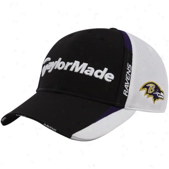 Baltimore Raven Gear: Taylirmade Baltimore Raven Black-white 2010 Nfl Golf Adjustable Hat