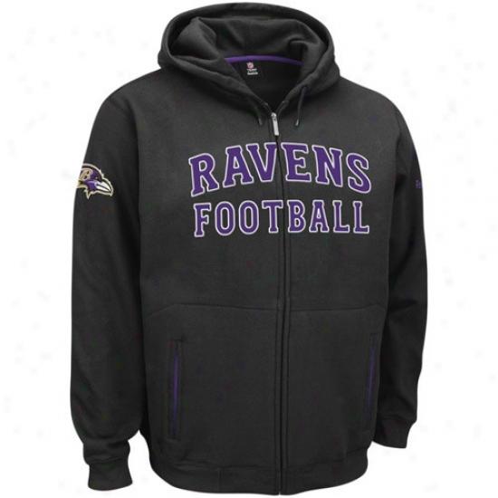 Baltimore Raven Hoody : Reebok Baltimofe Raven Black Overtime Full Zip Hoody
