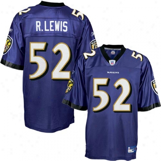 Baltimore Raven Jersey : Reebok Nfl Equipment Baltimore Raven #52 Ray Lewis Purple Replica Football Jersey