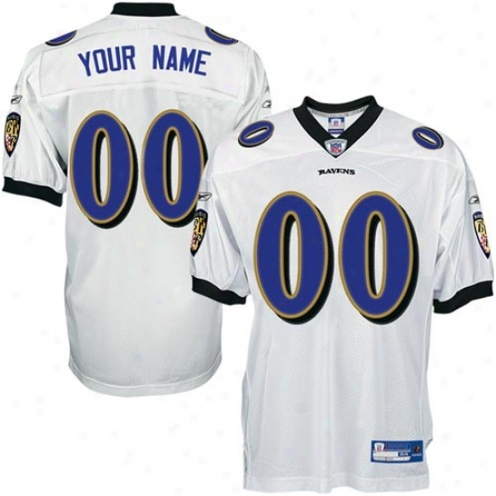 Baltimore Raven Jersey : Reebok Nfl Accoutrement Baltimore Prey White Authentic Customized Jersey