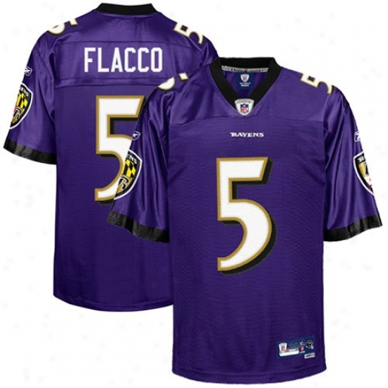 Baltimore Raven Jerseys : Reebok Nfl Equipment Baltimore Raben #5 Joe Flacco Purple Premier Tackle Twill Jerseys