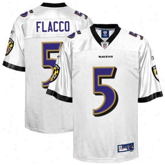 Baltimore Raven Jerseys : Reebok Nfl Equipment Baltimore Raven #5 Joe Flacco White Premier Tackle Twill Jerseys