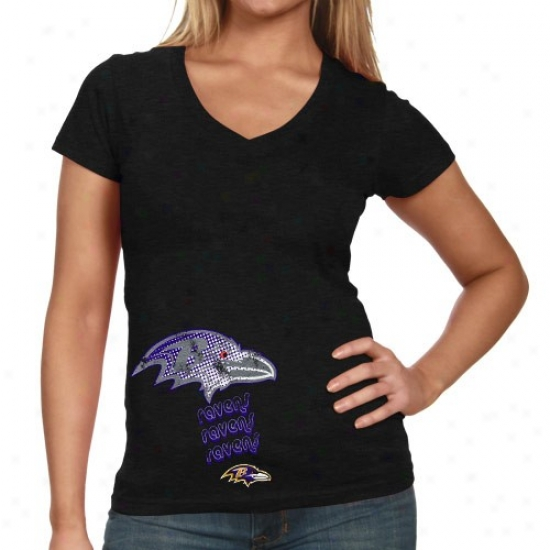 Baltimore Raven Shirts : Baltimore Raven Ladies Black Triple Play V-neck Slub Shirts