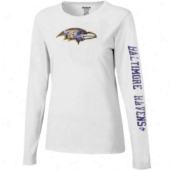 Baltimore Raven Shirts : Reevok Baltimore Raven Ladies White Giant Logo Too Long Sleeve Sgirts