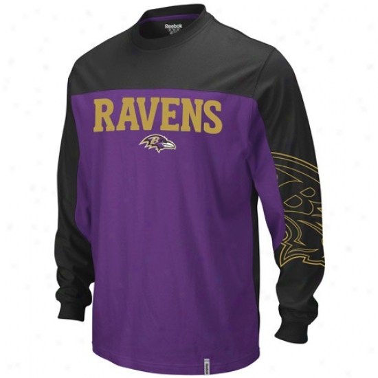 Baltimore Raven Tshirt : Reebok Baltimore Raven Purple-black Ring Long Sleeve Tshirt