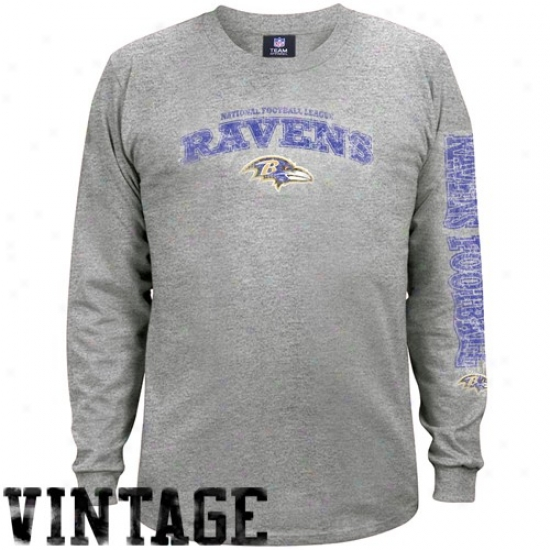 Baltimore Raven Tshirts : Baltimore aRven Ash Gridiron Tough Vintage Long Sleeve Tshirts
