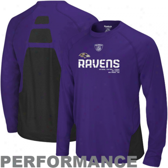 Baltimore Ravens A0parel: Reebok Baltimore Ravens Purple Conflict Sideline Performance Long Sleeve T-shirt
