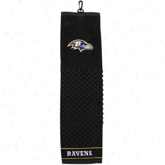 Baltimore Ravns Black Embroidered Team Logo Tri-fold Towel